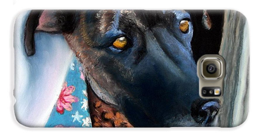 Great Dane Galaxy S6 Case featuring the painting Whats Going On? by Minaz Jantz