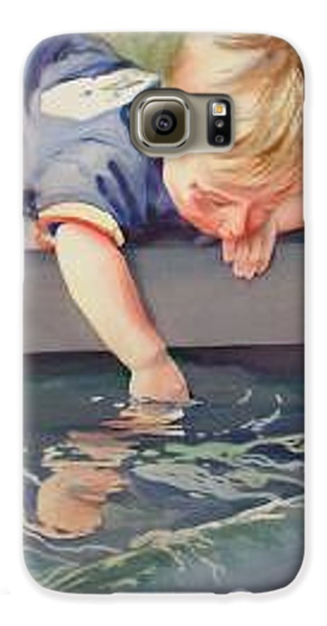 Boy Playing In Water Galaxy S6 Case featuring the painting Curious by Marlene Gremillion