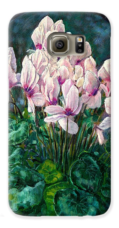 Cyclamen Flowers Galaxy S6 Case featuring the painting Cyclamen In Orbit by John Lautermilch