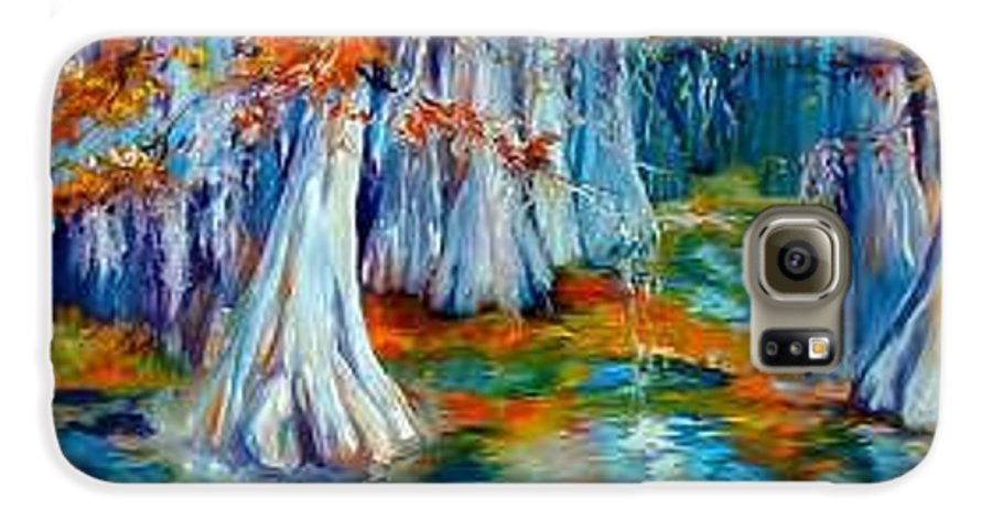 Tree Galaxy S6 Case featuring the painting Cypress Trees Along The Bayou by Marcia Baldwin