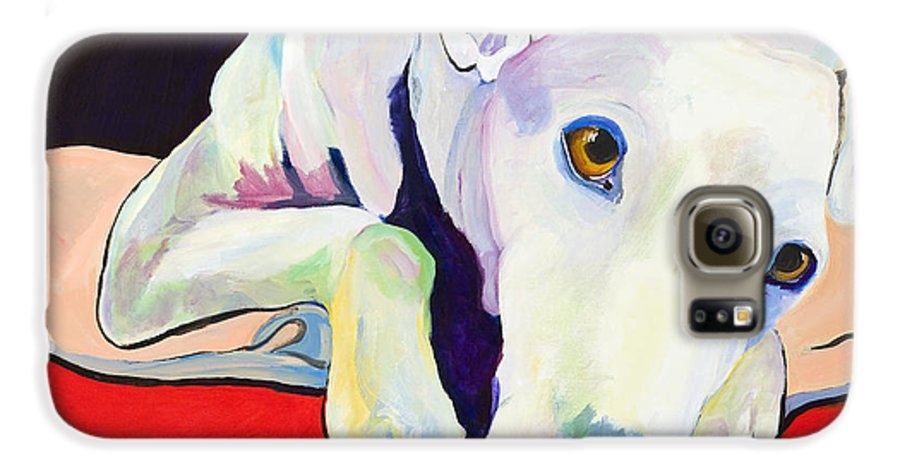 Animals Pets Greyhound Galaxy S6 Case featuring the painting Cyrus by Pat Saunders-White