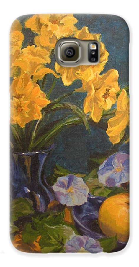 Still Life Galaxy S6 Case featuring the painting Daffodils by Karen Ilari