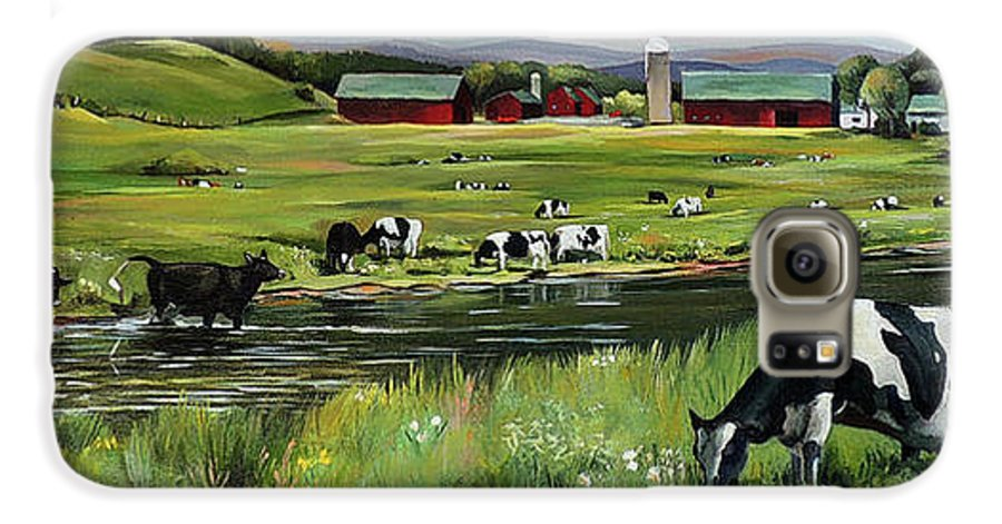 Landscape Galaxy S6 Case featuring the painting Dairy Farm Dream by Nancy Griswold