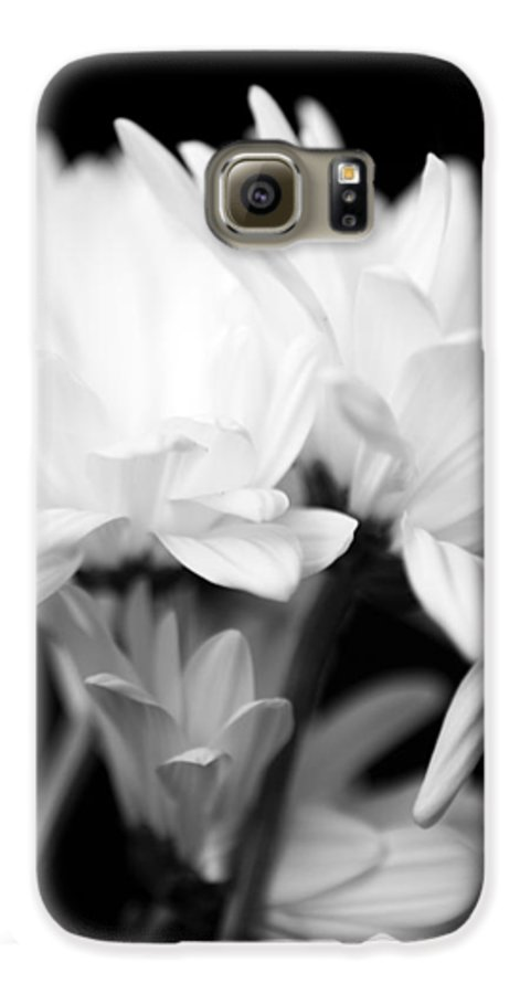 Floral Galaxy S6 Case featuring the photograph Daises In Black And White by Ayesha Lakes