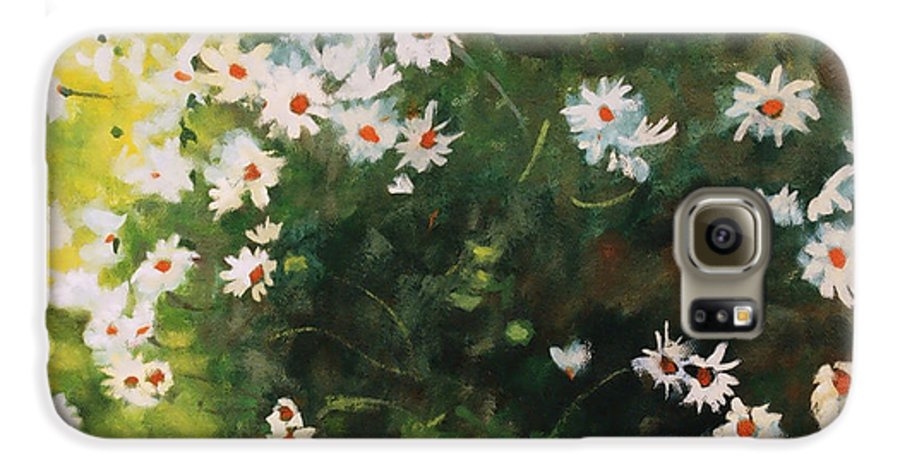 Daisies Galaxy S6 Case featuring the painting Daisies by Iliyan Bozhanov