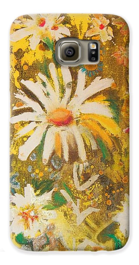 Floral Abstract Galaxy S6 Case featuring the painting Daisies In The Wind Vii by Henny Dagenais