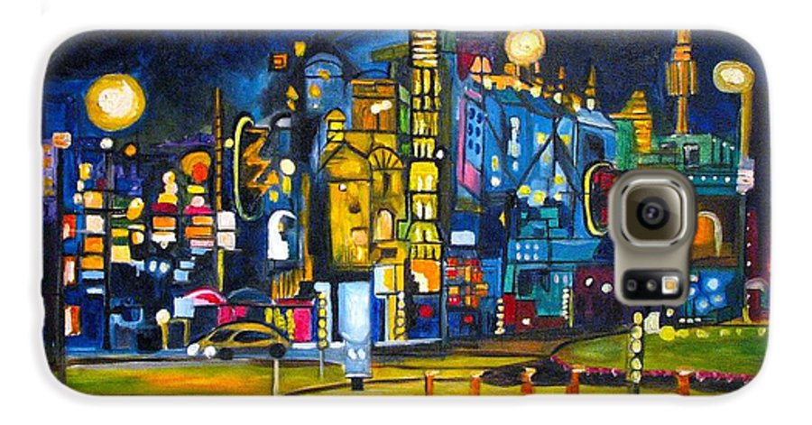 Cityscape Galaxy S6 Case featuring the painting Dam Square by Patricia Arroyo