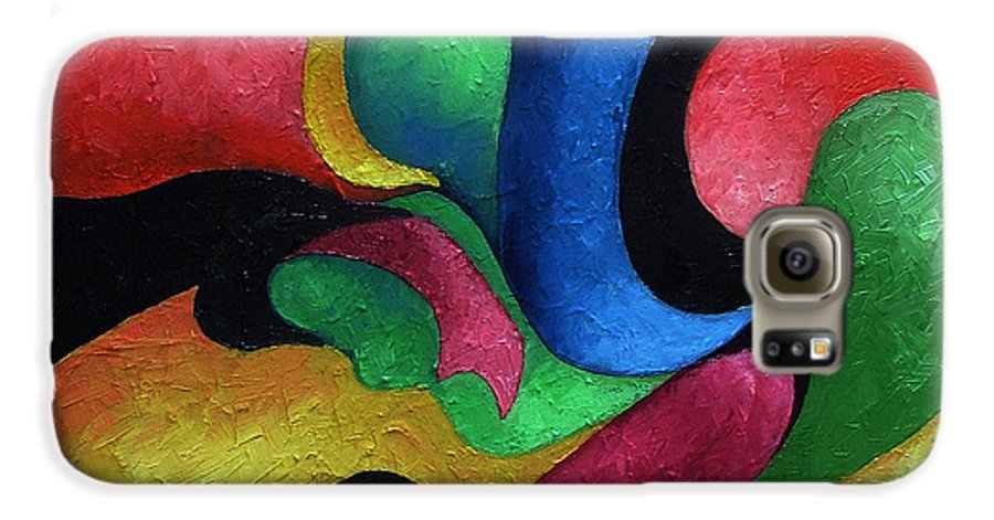 Abstract Galaxy S6 Case featuring the painting Dance With Me by Elizabeth Lisy Figueroa