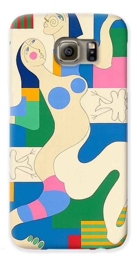 Modern Constructivisme People Birds Original Stylisme Galaxy S6 Case featuring the painting Dancing by Hildegarde Handsaeme