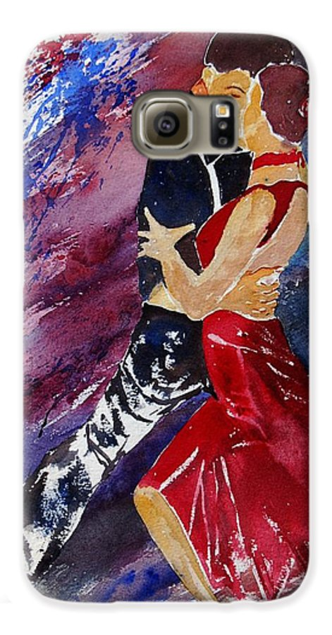 Tango Galaxy S6 Case featuring the painting Dancing Tango by Pol Ledent