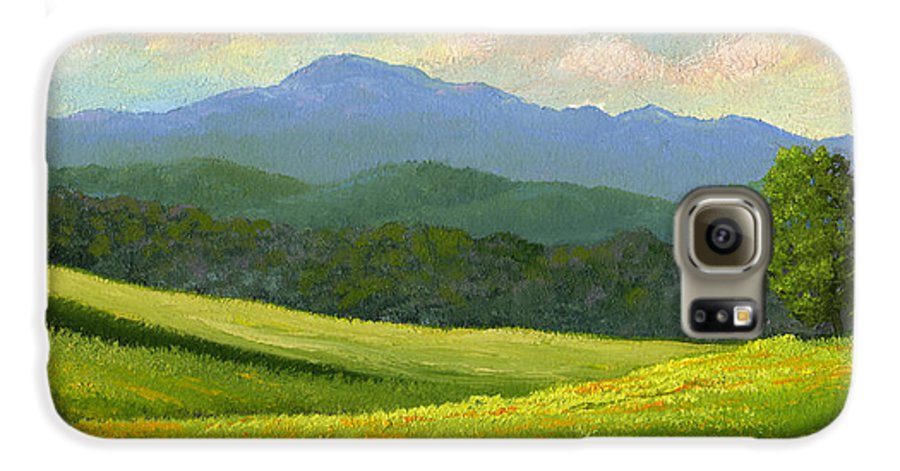 Landscape Galaxy S6 Case featuring the painting Dandelion Meadows by Frank Wilson