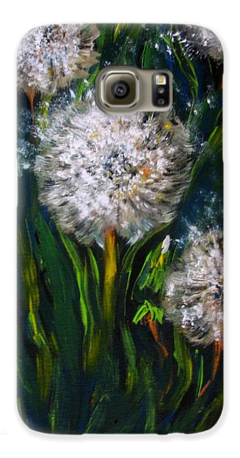 Flower Art Galaxy S6 Case featuring the painting Dandelions Acrylic Painting by Natalja Picugina