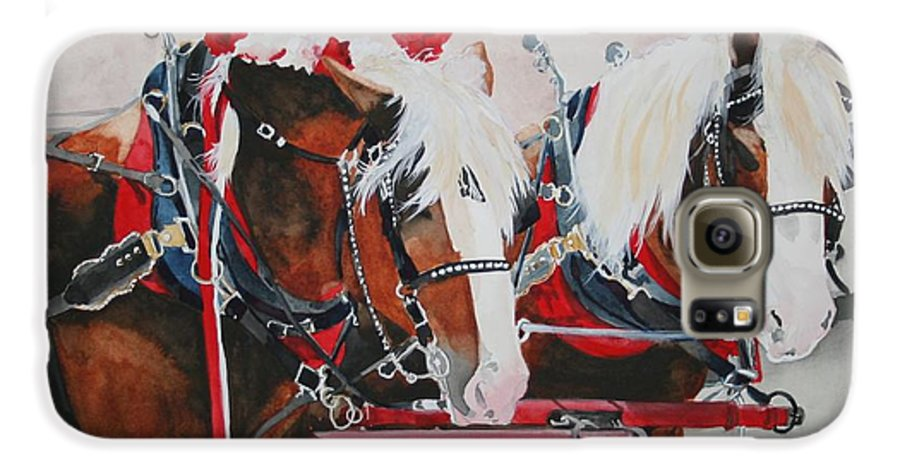 Horse Galaxy S6 Case featuring the painting Dandy Duo by Jean Blackmer