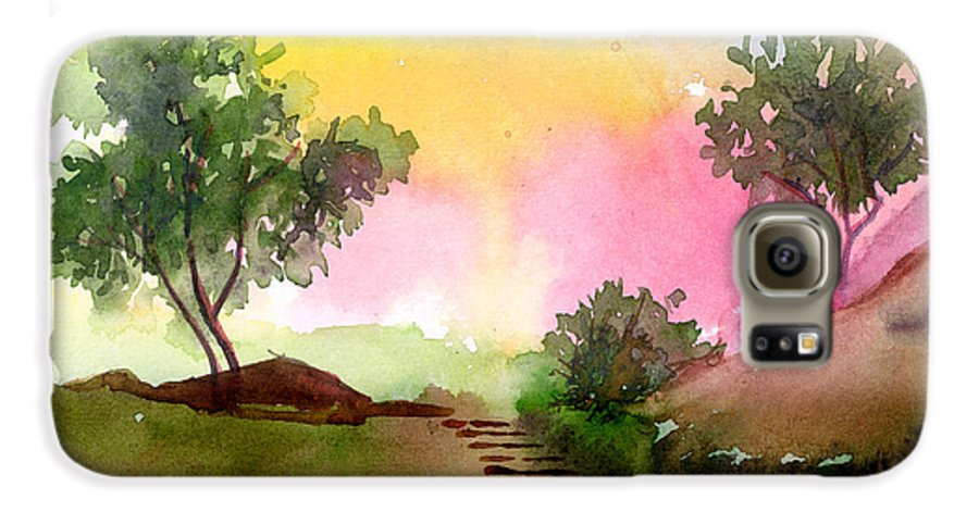 Landscape Galaxy S6 Case featuring the painting Dawn by Anil Nene