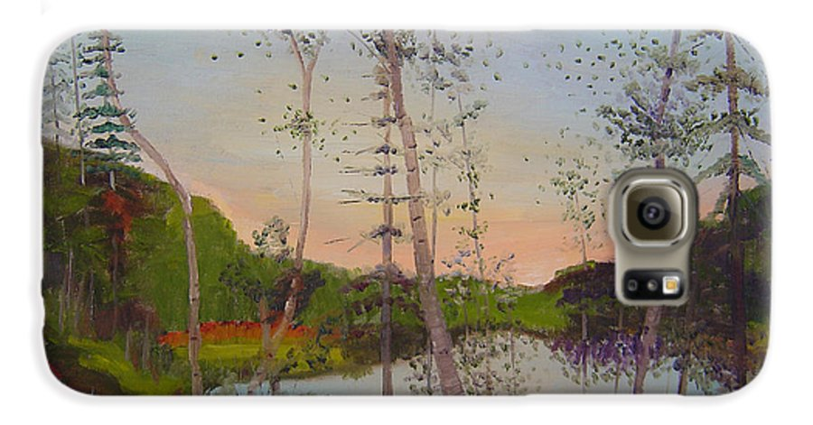 Landscape Galaxy S6 Case featuring the painting Dawn By The Pond by Lilibeth Andre