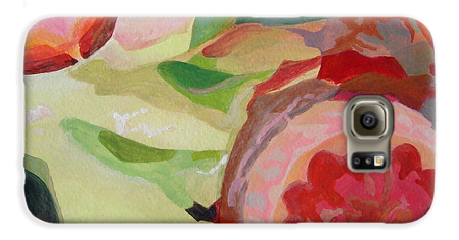Abstract Galaxy S6 Case featuring the painting Decoupage by Muriel Dolemieux