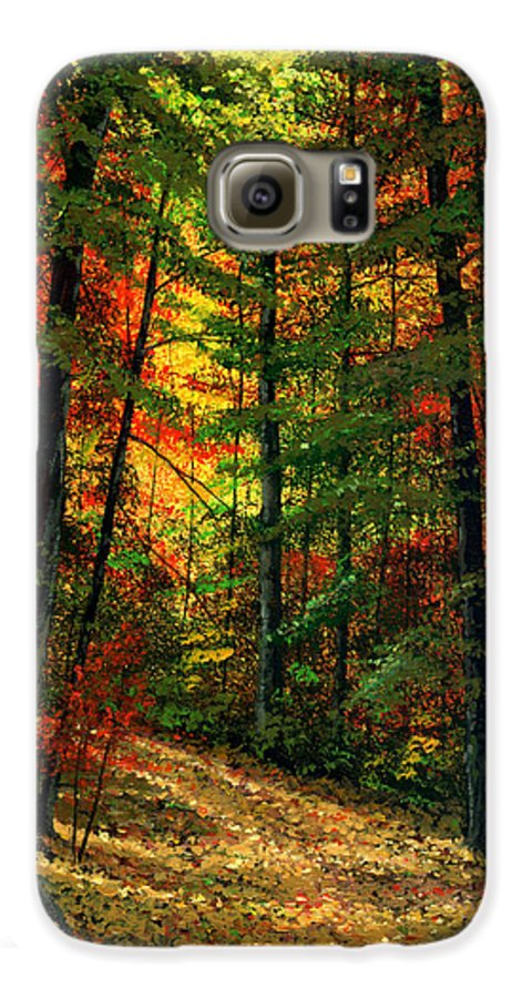 Landscape Galaxy S6 Case featuring the painting Deep In The Forest by Frank Wilson