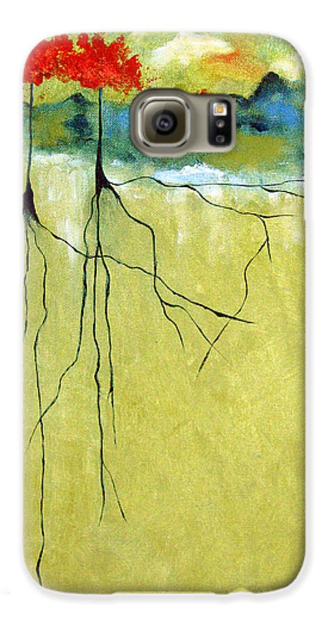 Abstract Galaxy S6 Case featuring the painting Deep Roots by Ruth Palmer