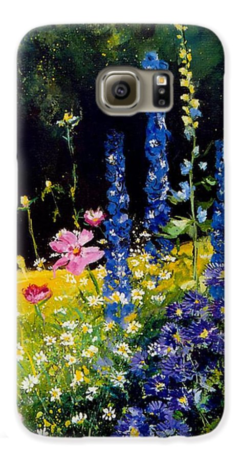 Poppies Galaxy S6 Case featuring the painting Delphiniums by Pol Ledent