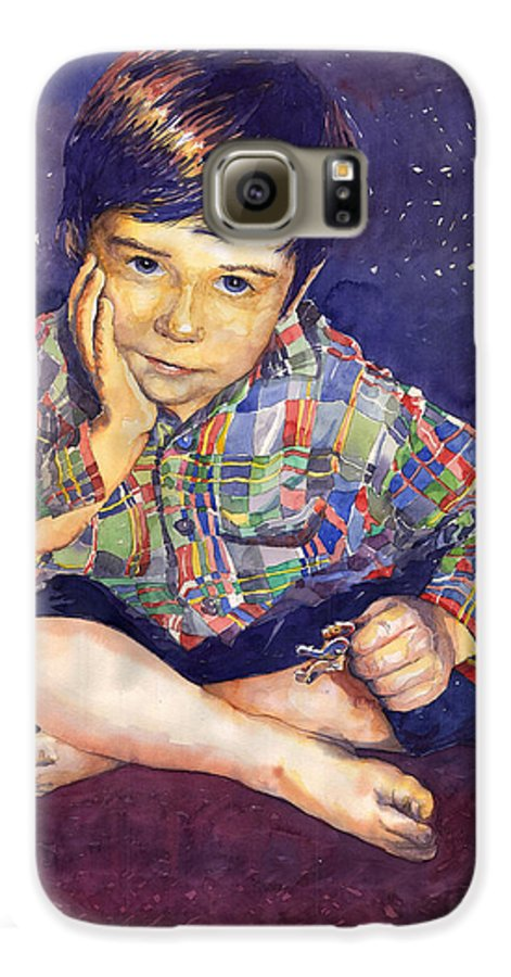 Watercolor Watercolour Portret Figurativ Realism People Commissioned Galaxy S6 Case featuring the painting Denis 01 by Yuriy Shevchuk