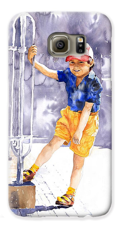 Watercolor Watercolour Figurativ Portret Galaxy S6 Case featuring the painting Denis 02 by Yuriy Shevchuk