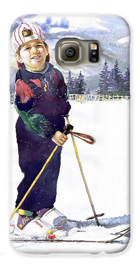 Watercolor Watercolour Figurative Ski Children Portret Realism Galaxy S6 Case featuring the painting Denis 03 by Yuriy Shevchuk