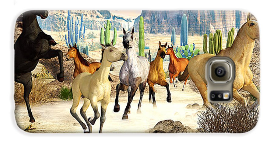 Horses Galaxy S6 Case featuring the photograph Desert Horses by Peter J Sucy