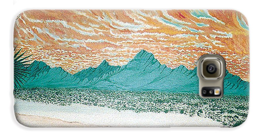 Desertscape Galaxy S6 Case featuring the painting Desert Splendor by Marco Morales