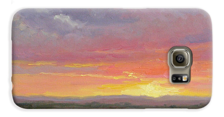 Sunset Galaxy S6 Case featuring the painting Desert Sundown by Bunny Oliver