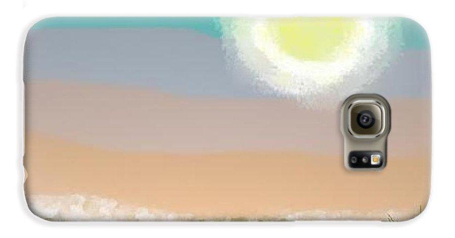 Sky.moon.desert.rest.silence.sand.prickles.moonlight. Galaxy S6 Case featuring the digital art Desert.night.moon by Dr Loifer Vladimir