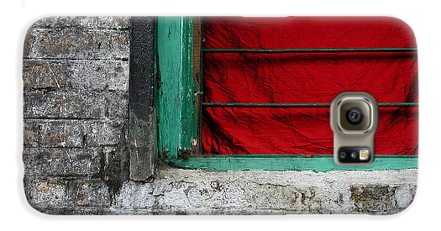 Red Galaxy S6 Case featuring the photograph Dharamsala Window by Skip Hunt