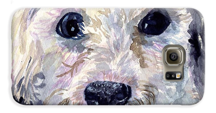Bichon Frise Galaxy S6 Case featuring the painting Did You Say Lunch by Sharon E Allen