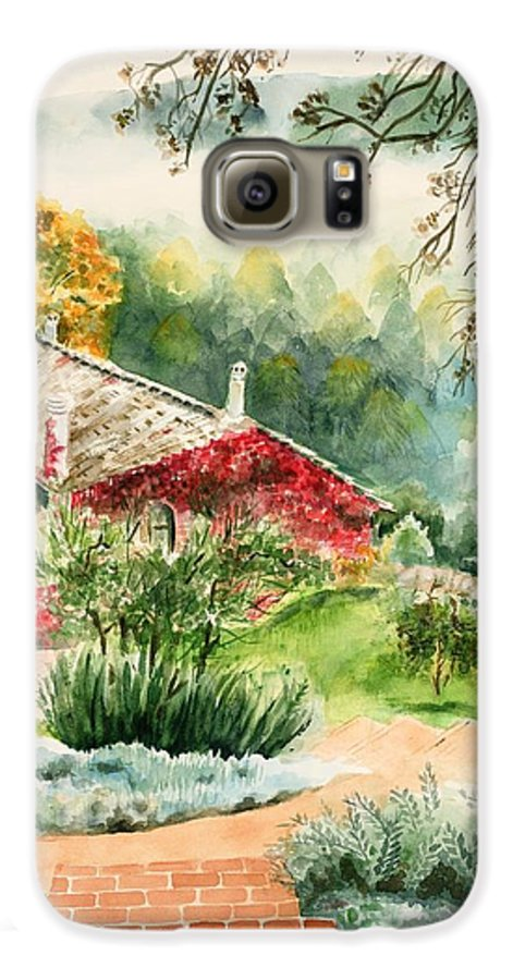 View Of Pathway To Red Cottage And Mountains In Mist Galaxy S6 Case featuring the painting Dievole Vineyard In Tuscany by Judy Swerlick