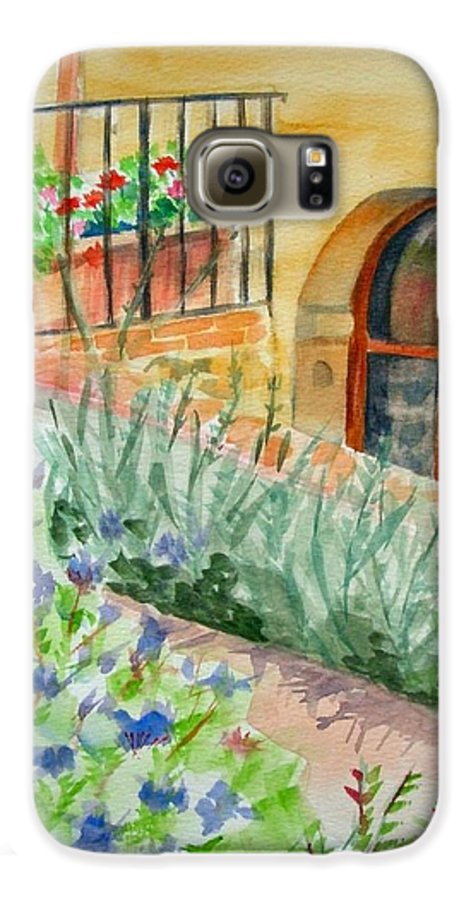 Flowers Surrounding Apartment On Vineyard Galaxy S6 Case featuring the painting Dievole Vineyard by Judy Swerlick