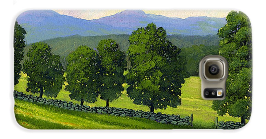 Landscape Galaxy S6 Case featuring the painting Distant Mountains by Frank Wilson