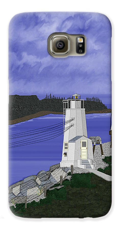 Lighthouse Galaxy S6 Case featuring the painting Dofflemeyer Point Lighthouse At Boston Harbor by Anne Norskog