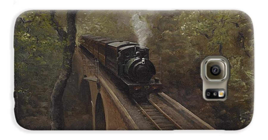 Steam Galaxy S6 Case featuring the painting Dolgoch Viaduct by Richard Picton