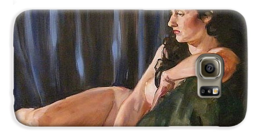 Nude Galaxy S6 Case featuring the painting Dolly by Debra Jones