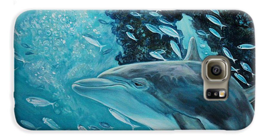 Underwater Scene Galaxy S6 Case featuring the painting Dolphin With Small Fish by Diann Baggett