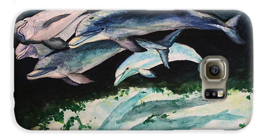Dolphins Galaxy S6 Case featuring the painting Dolphins by Laura Rispoli