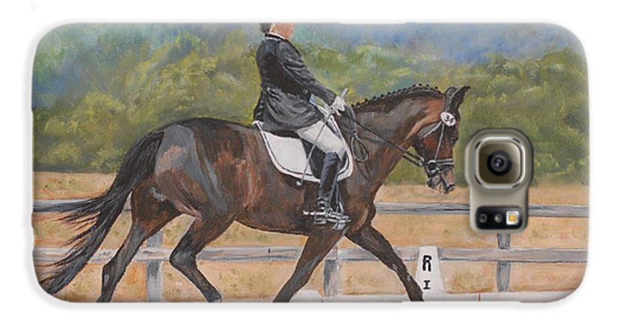 Horse Galaxy S6 Case featuring the painting Donnerlittchen by Quwatha Valentine