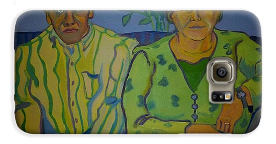 Older Couple Galaxy S6 Case featuring the painting Dottie And Jerry by Debra Bretton Robinson