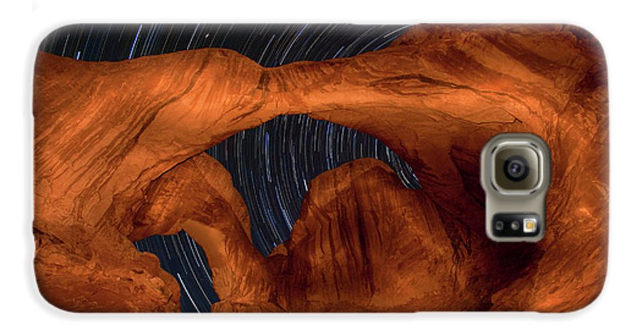 3scape Galaxy S6 Case featuring the photograph Double Arch Star Trails by Adam Romanowicz