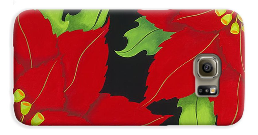Acrylic Galaxy S6 Case featuring the painting Double Red Poinsettias by Carol Sabo