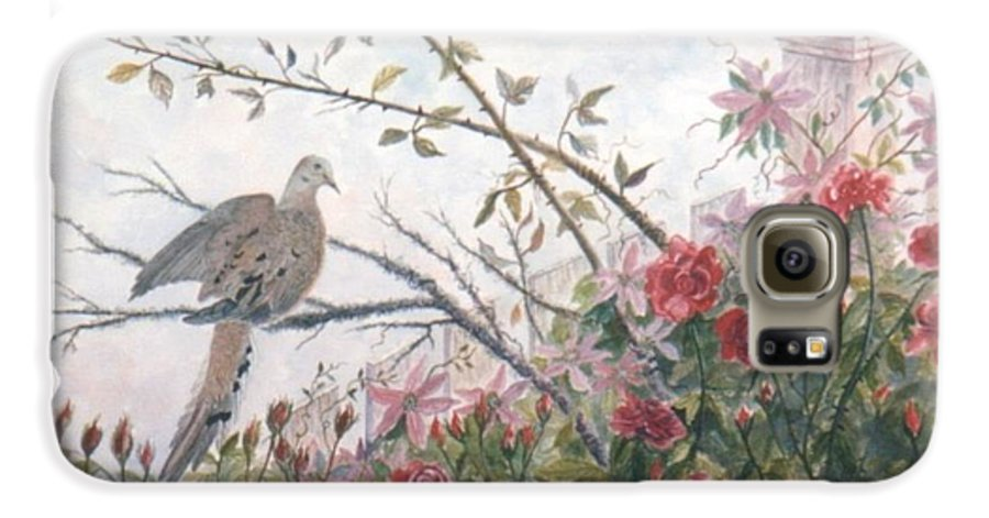 Dove; Roses Galaxy S6 Case featuring the painting Dove And Roses by Ben Kiger