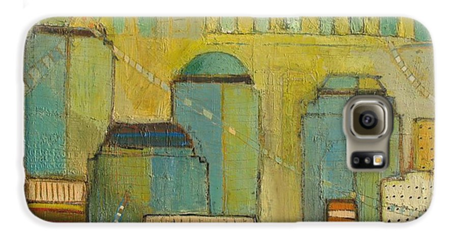 Galaxy S6 Case featuring the painting Downtown Manhattan by Habib Ayat