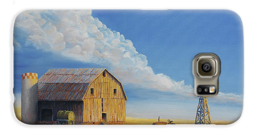 Barn Galaxy S6 Case featuring the painting Downtown Wyoming by Jerry McElroy