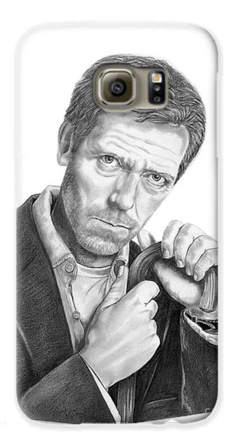 Drawing Galaxy S6 Case featuring the drawing Dr. House Hugh Laurie by Murphy Elliott