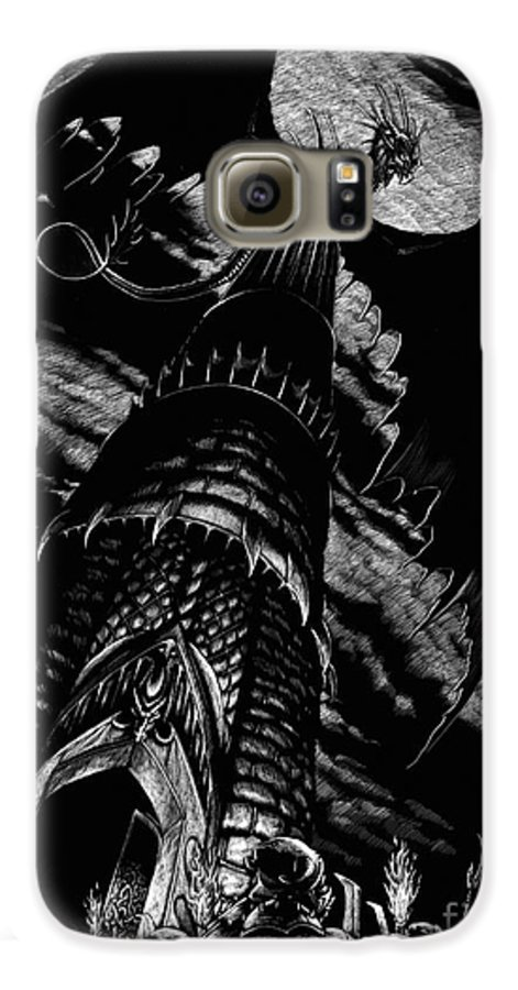 Dragon Galaxy S6 Case featuring the drawing Dragon Tower by Stanley Morrison