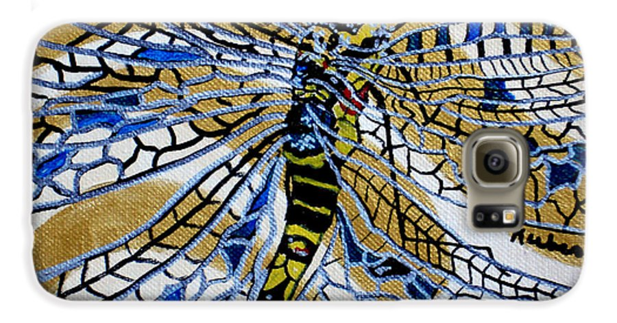 Dragonfly Galaxy S6 Case featuring the painting Dragonfly On Gold Scarf by Susan Kubes